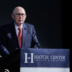 """President Dallin H. Oaks, first counselor in the First Presidency of The Church of Jesus Christ of Latter-day Saints, introduces Supreme Court Justice Neil Gorsuch to students at Brigham Young University during """"An Evening With Neil Gorsuch"""" hosted by the Hatch Centeron Friday, Sept. 20, 2019."""