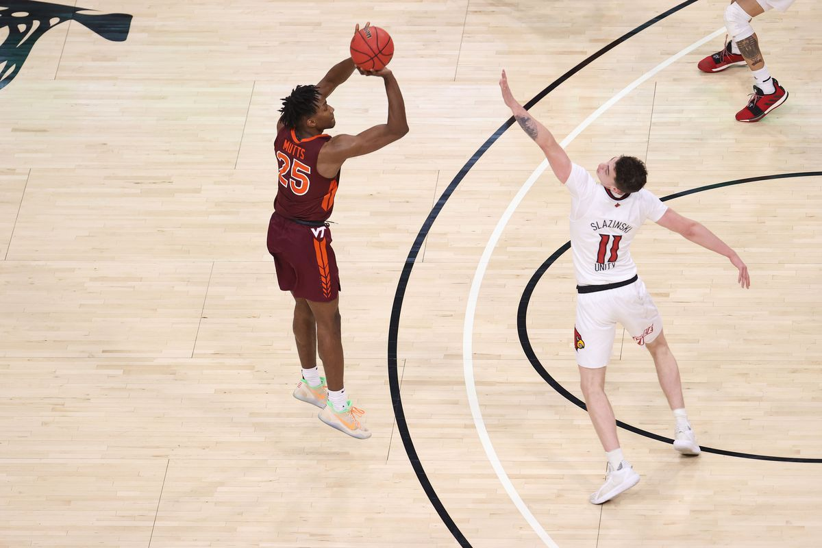 Justyn Mutts of the Virginia Tech Hokies shoots the ball against the Louisville Cardinals at KFC YUM! Center on January 06, 2021 in Louisville, Kentucky.