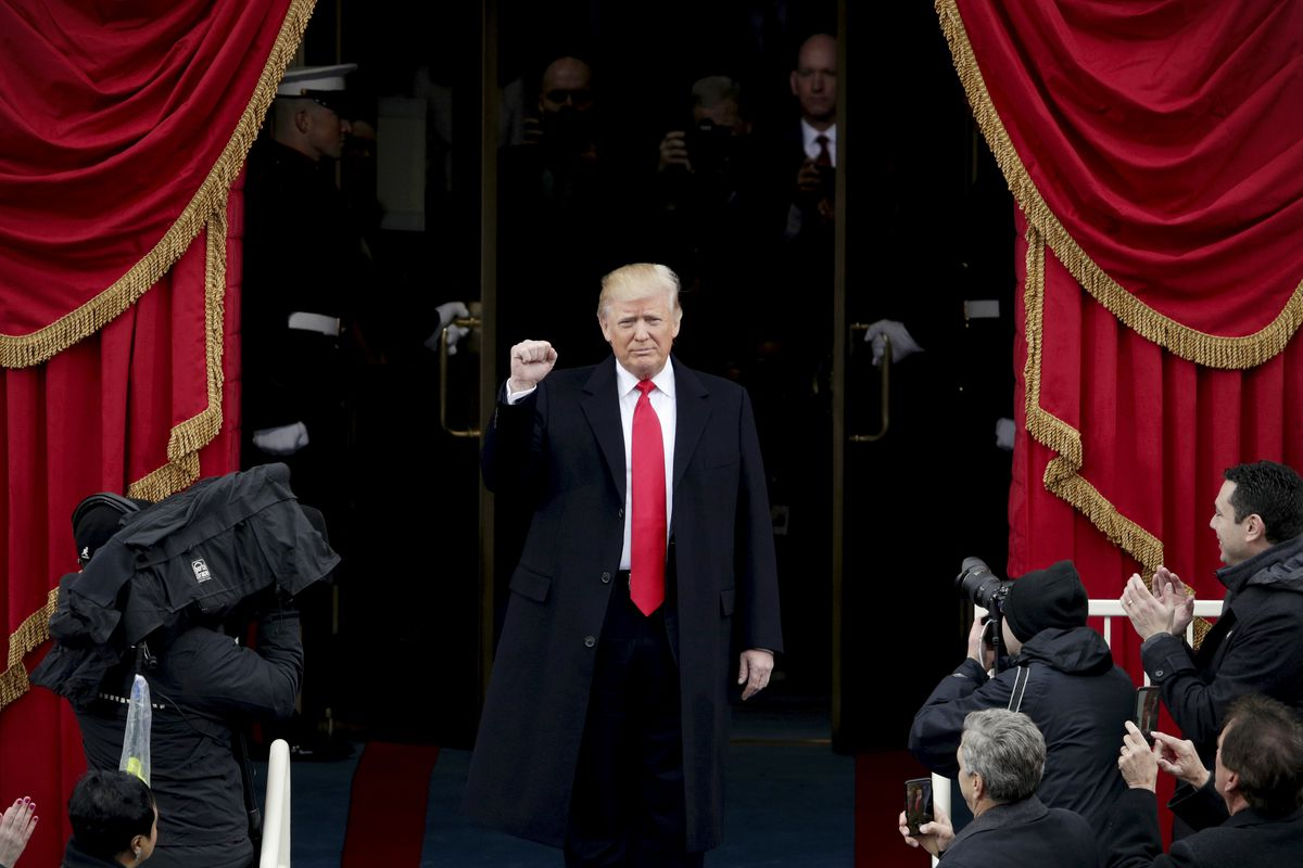 President Donald Trump's arrival at today's inauguration ceremony.