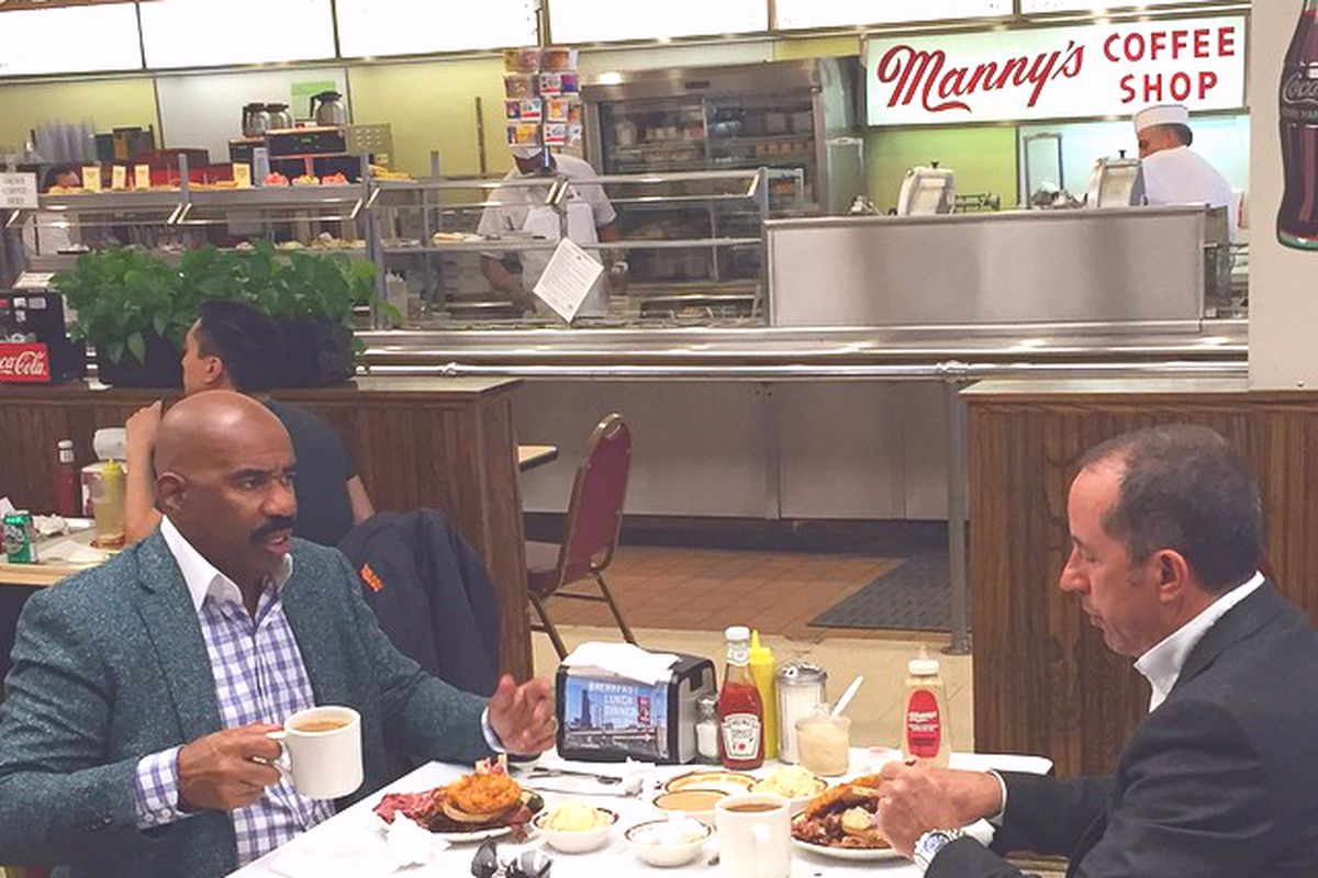 Steve Harvey and Jerry Seinfeld at Manny's