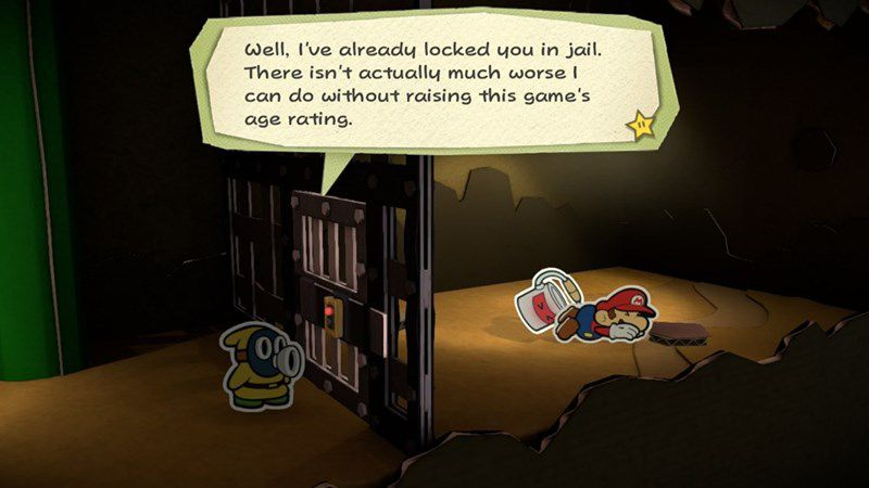 A Shy Guy throws Mario in jail in a screenshot from Paper Mario: Color Splash