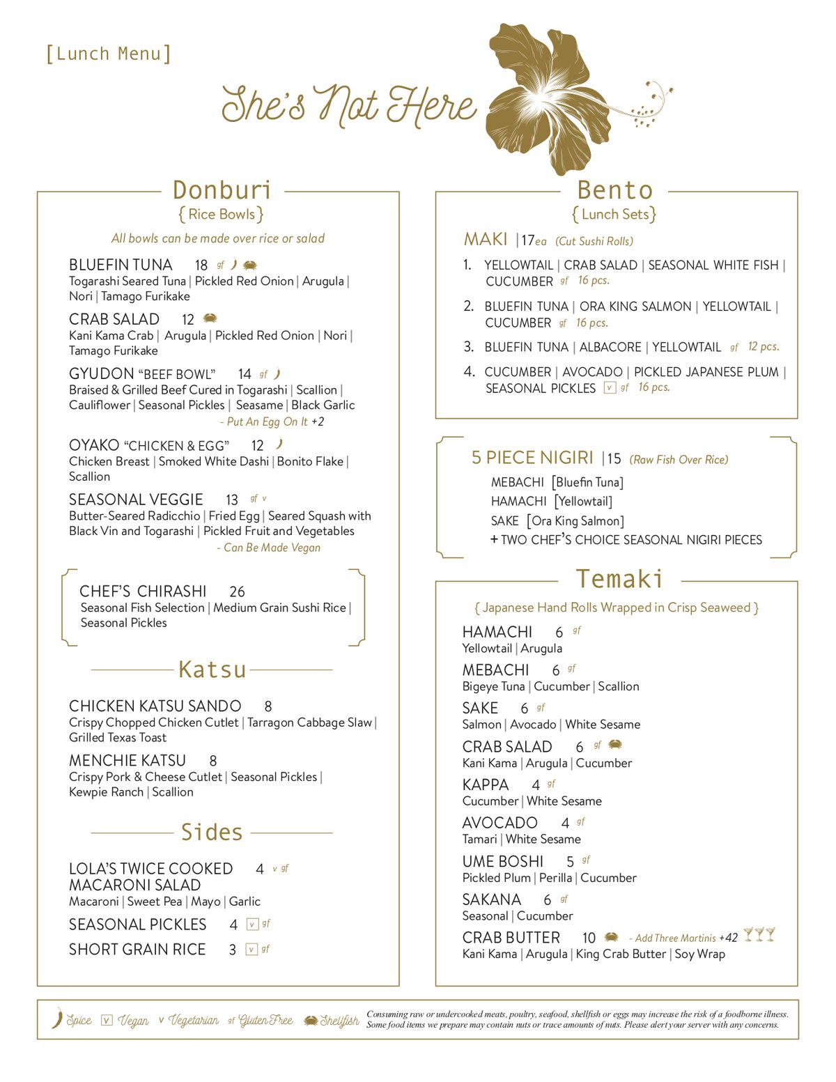 She's Not Here's lunch menu