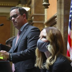 House Speaker Brad Wilson, R-Kaysville, leads a special session of the Legislature in the House of Representatives to deal with myriad COVID-19 budget changes at the Capitol in Salt Lake City on Thursday, June 18, 2020.