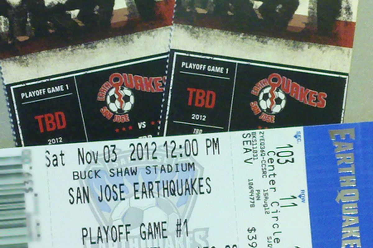 Ladies and gentlemen: Your first look at the San Jose Earthquakes 2012 MLS Cup playoffs tickets