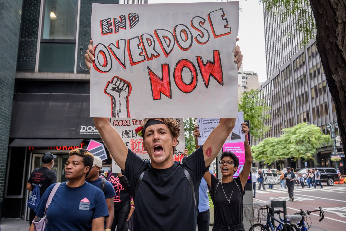 Protesters in 2019 call on New York Gov. Andrew Cuomo to take action on drug overdoses.