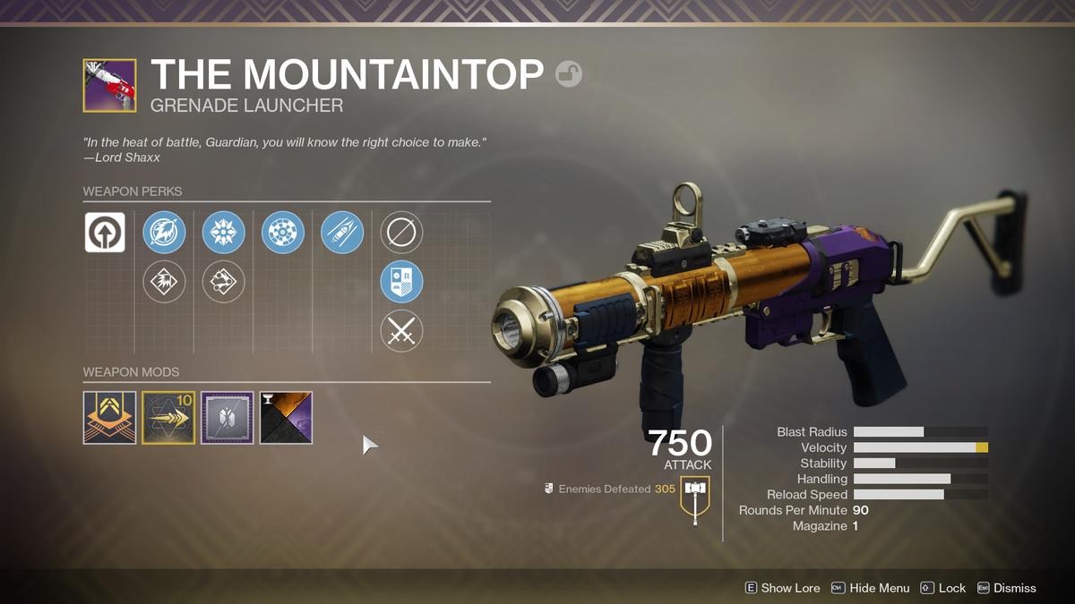 Destiny 2 The Mountaintop