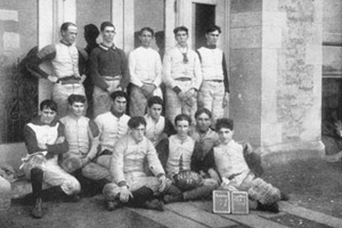 "Today's playbook may have resembled the 1899 Northern Illinois football team's (via <a href=""http://grfx.cstv.com/schools/niu/graphics/first-fb-team-1899-300.jpg"">grfx.cstv.com</a>)"