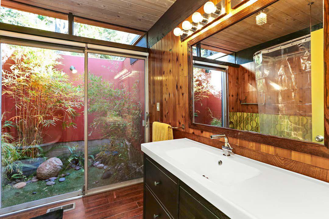 Bathroom leading to garden area