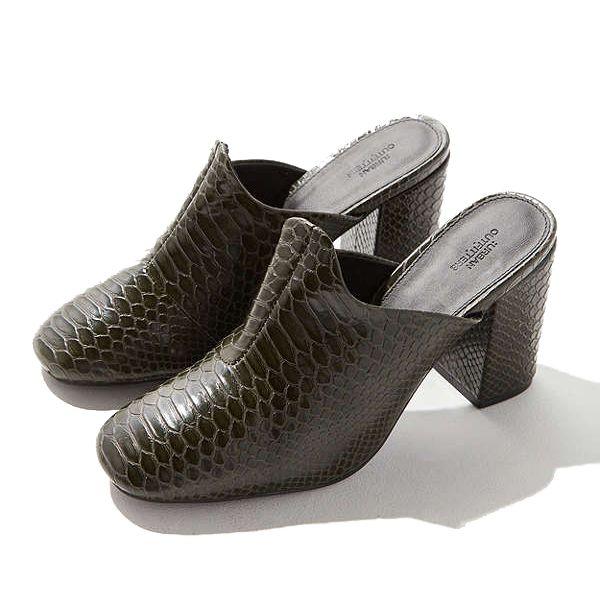 faux croc mules