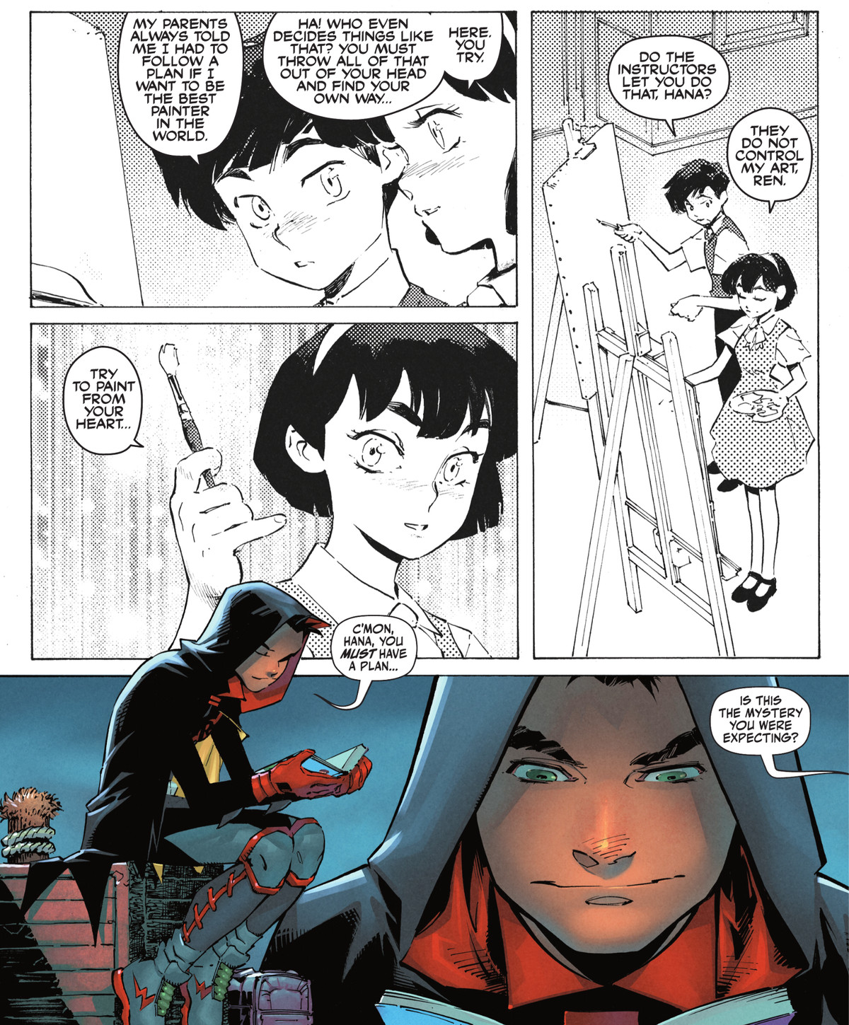 """""""Try to paint from your heart,"""" a young girl tells her friend in a manga Damian Wayne is reading. """"C'mon Hana, you must have a plan,"""" he mutters to the book. The manga panels are presented in a Western reading order, in Robin #1, DC Comics (2021)."""