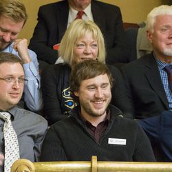 Members of the LGBT community and allies celebrate Friday, March 6, 2015, as the Utah State Senate passes SB296, a nondiscrimination/religious liberty bill.