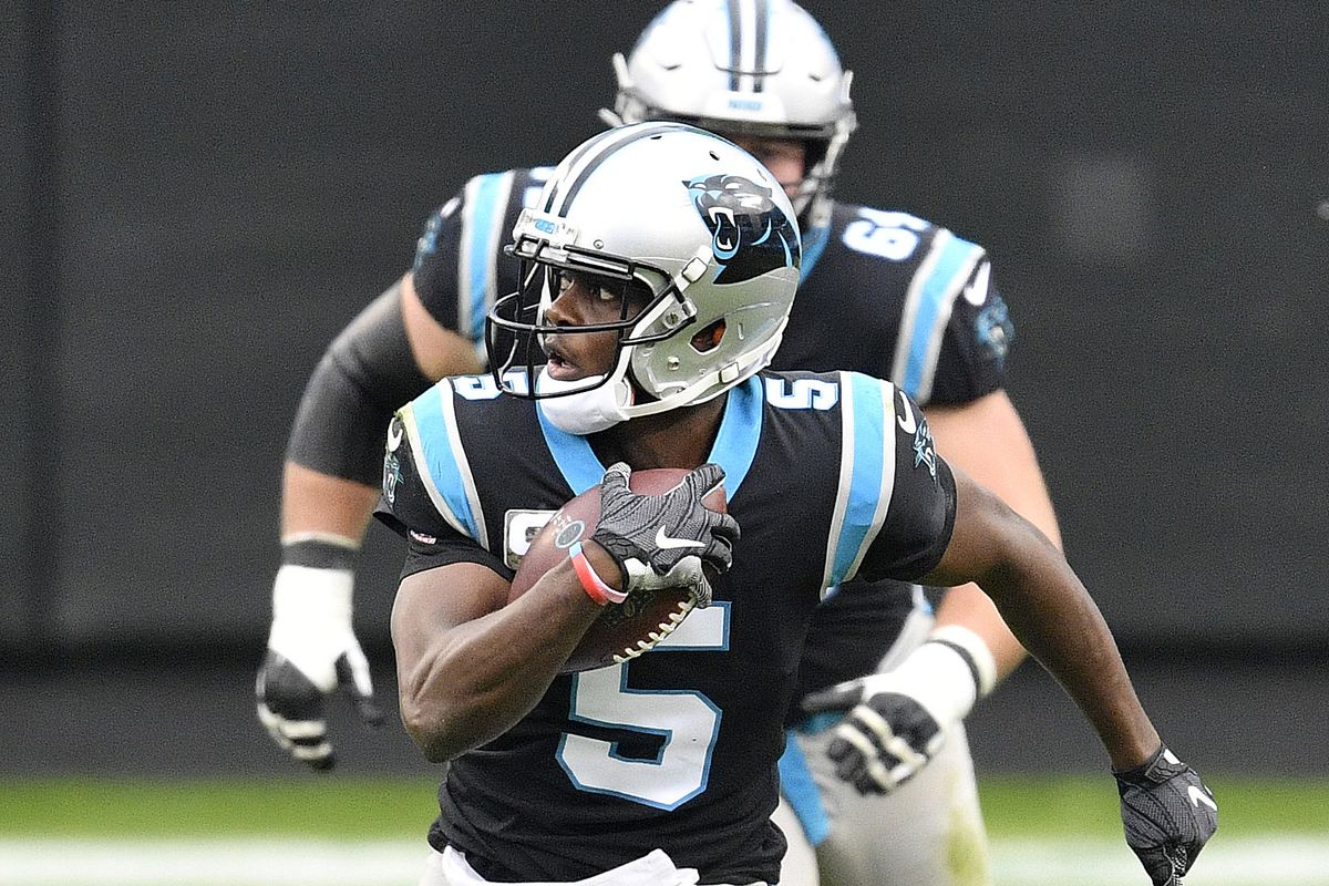 Teddy Bridgewater #5 of the Carolina Panthers scrambles with the ball against the Tampa Bay Buccaneers during their NFL game at Bank of America Stadium on November 15, 2020 in Charlotte, North Carolina.