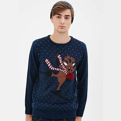 """<strong>Forever21</strong> Dancing Reindeer Sweater, <a href=""""http://www.forever21.com/Product/Product.aspx?br=21MEN&category=mens-main&productid=2000136899"""">$24.90</a>"""