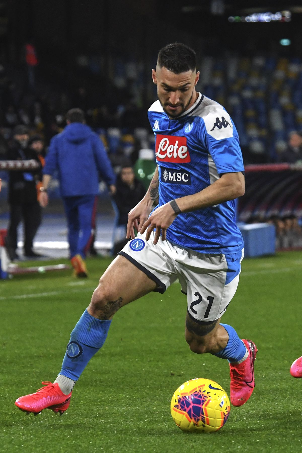 Napoli's Italian forward Matteo Politano controls the ball...