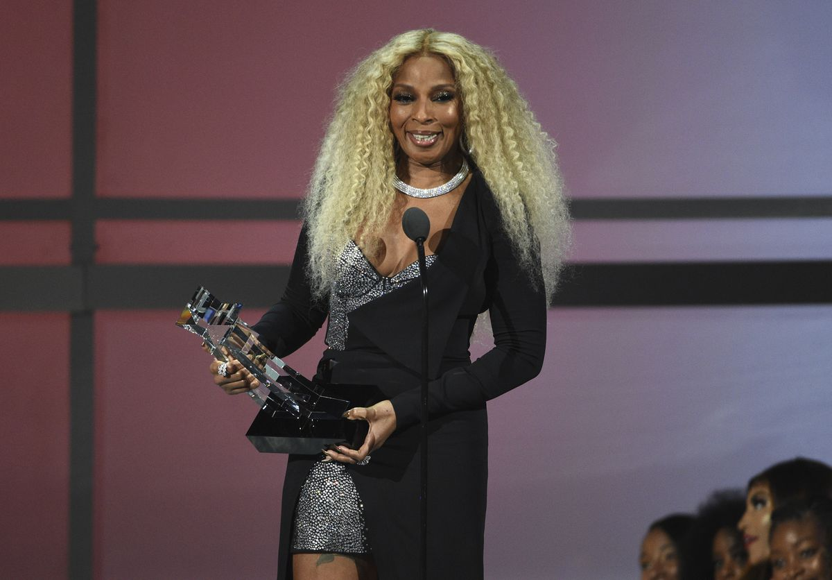 Mary J. Blige accepts the lifetime achievement award at the BET Awards on Sunday, June 23, 2019, at the Microsoft Theater in Los Angeles.