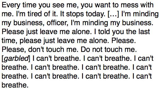 Eric Garner last words