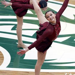 Bountiful competes in the dance category of the 5A state drill team finals at the UCCU Center in Orem on Thursday, Feb. 4, 2021. Other categories are military and show.