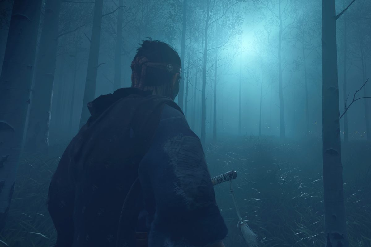 Ghost of Tsushima's main character in a foggy forest at night