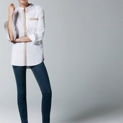 Thomas Mason leather trim tunic and ever stretch toothpick jean.