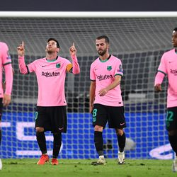 Messi celebrates his penalty