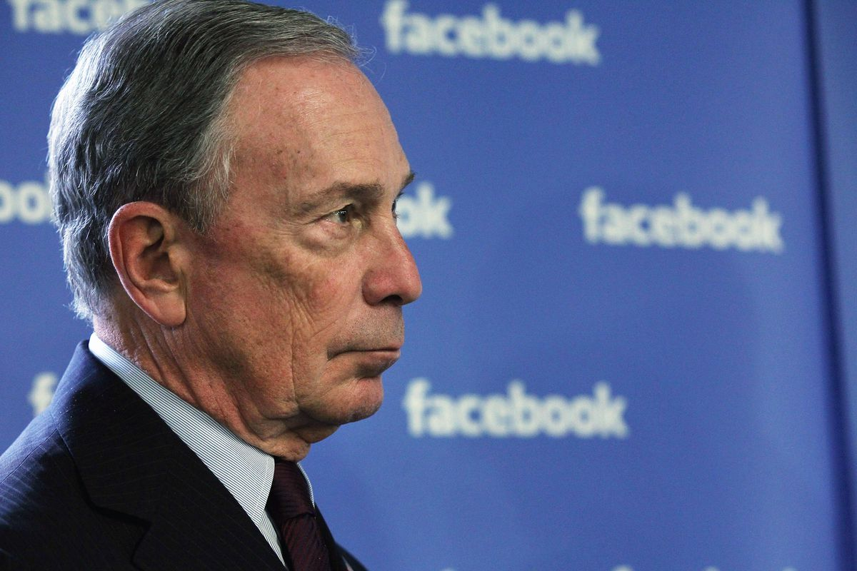 Michael Bloomberg appears alongside a Facebook banner.
