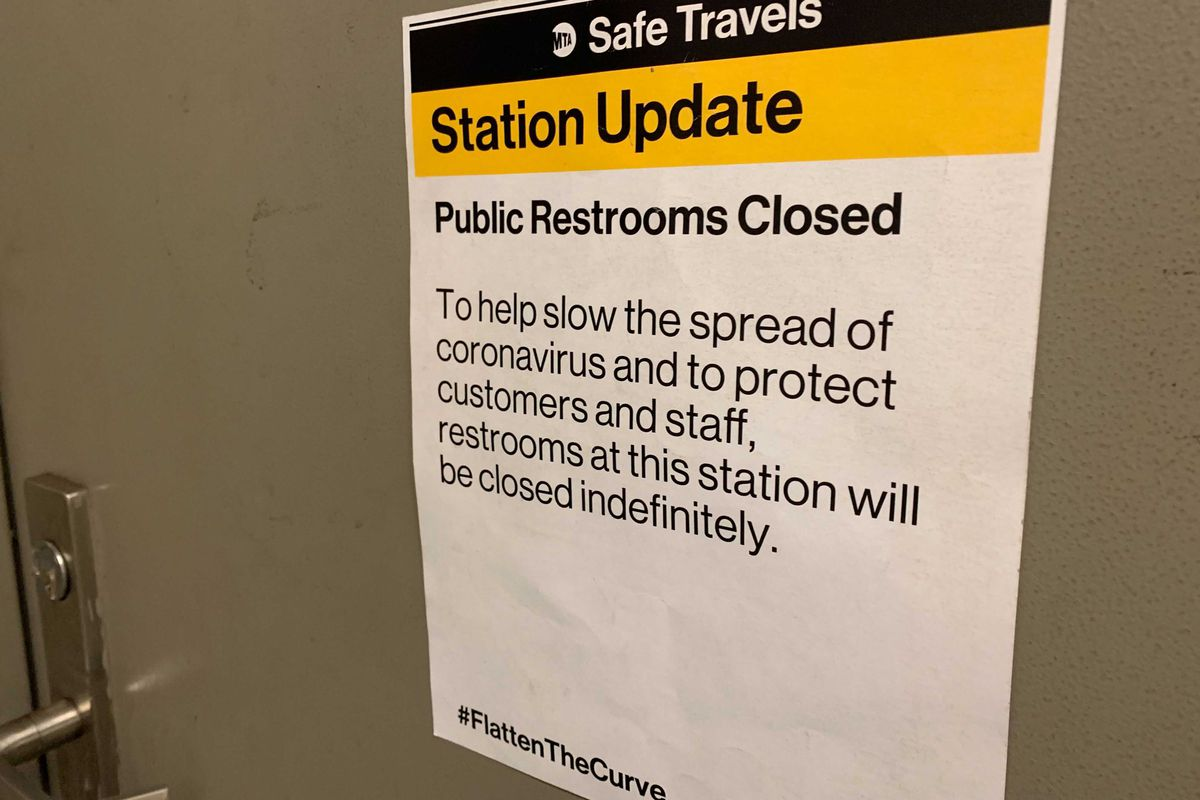 The renovated subway restrooms at the Fifth Avenue/53 St station on the E/M lines, seen on April 28, 2021, reopened in October 2019, but have been closed since the start of the pandemic.