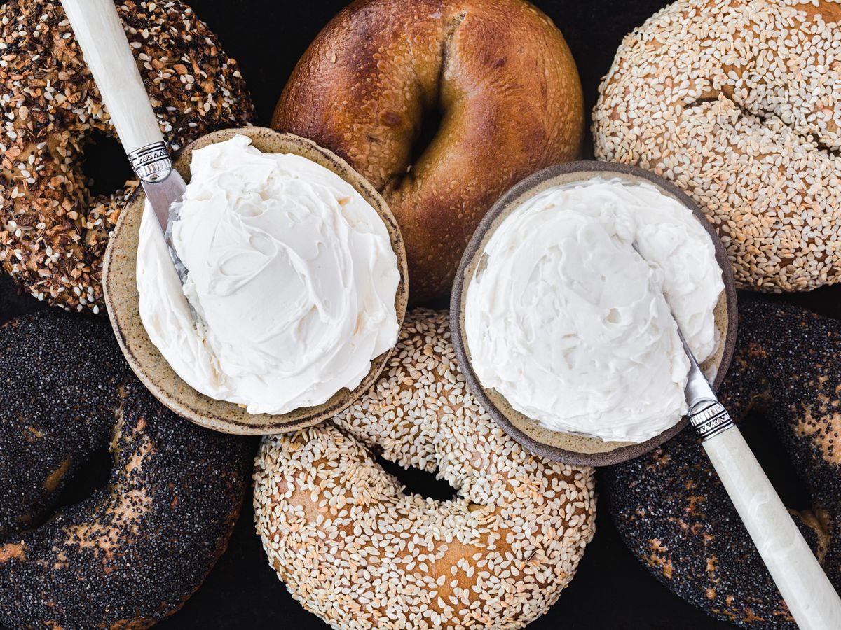 Bagels and cream cheese at Grand Bakery Oakland