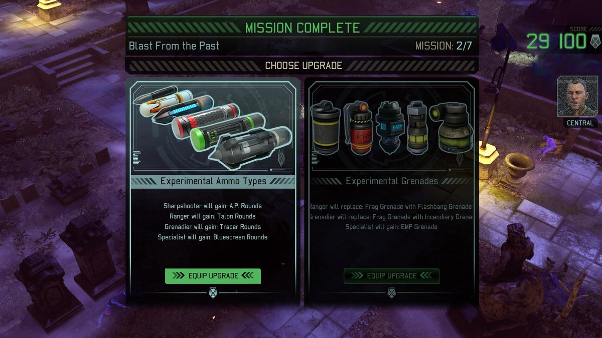 XCOM 2: War of the Chosen Tactical Legacy Pack - choosing upgrades on post-mission upgrade screen