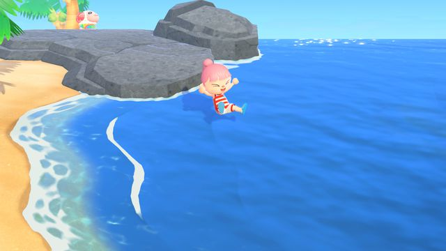 An Animal Crossing character dives into water