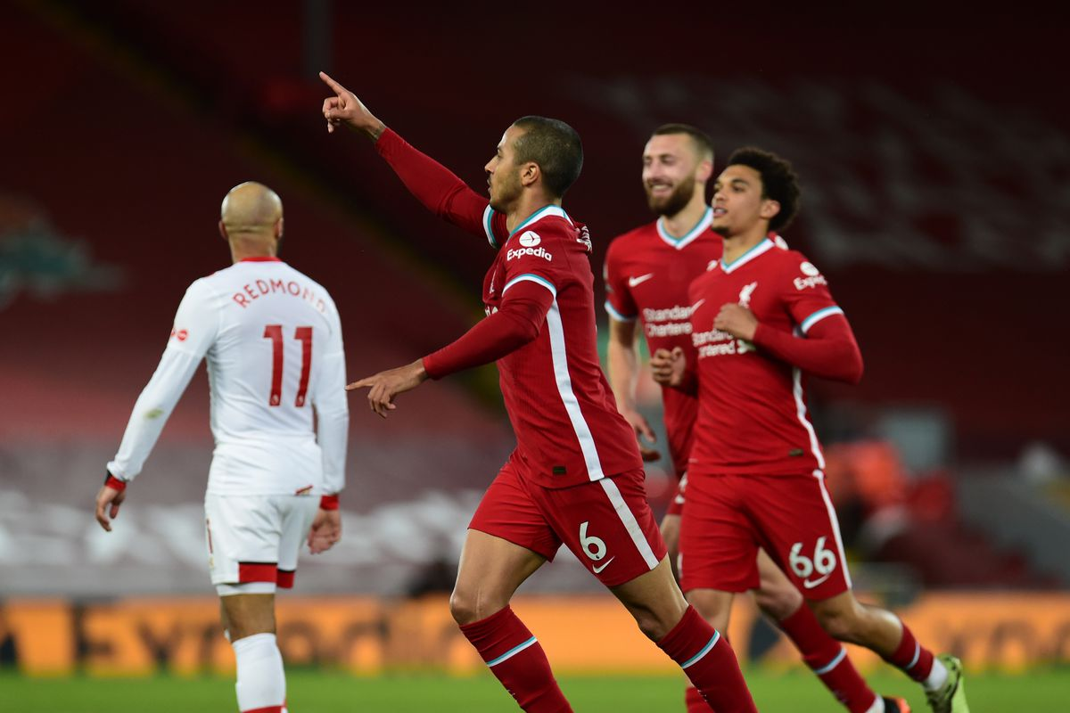 Thiago Alcantara of Liverpool celebrates after scoring the second goal during the Premier League match between Liverpool and Southampton at Anfield on May 08, 2021 in Liverpool, England.