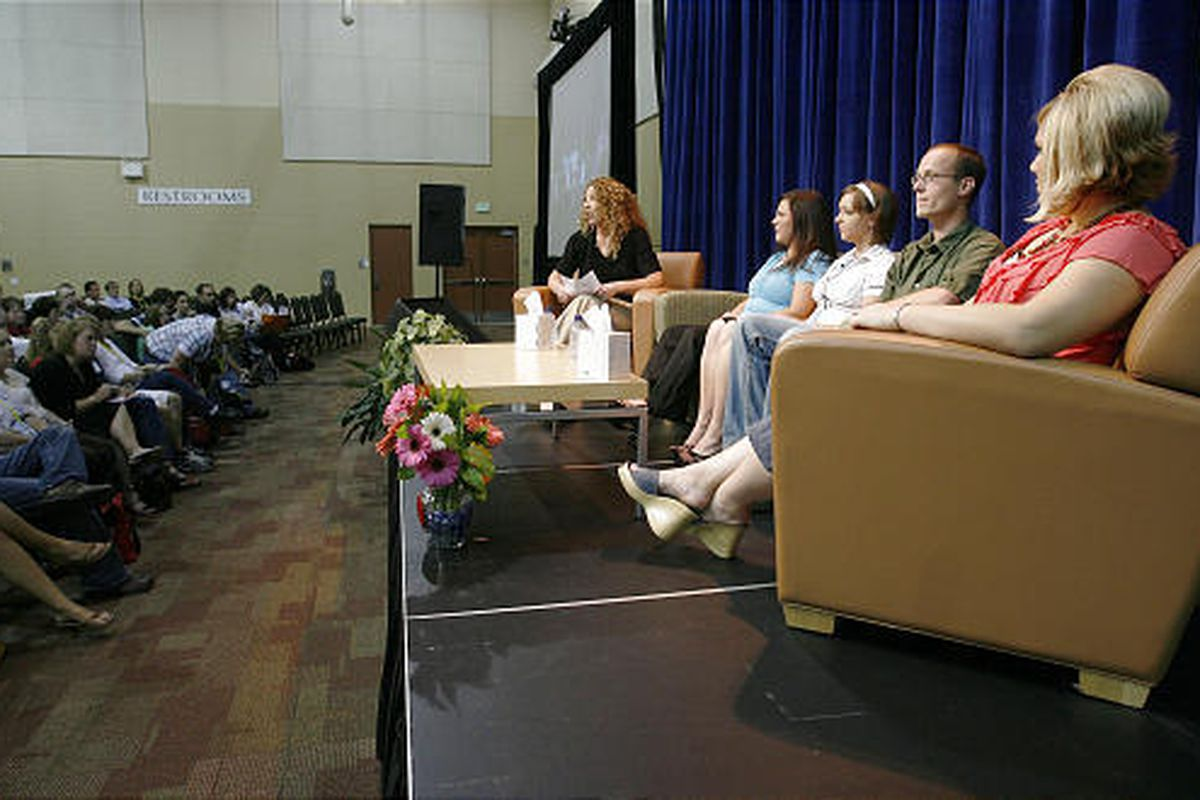 Birth parent panelists speak during the Families Supporting Adoption conference,  sponsored by LDS Family Services, at the Davis Conference Center Saturday in Layton.
