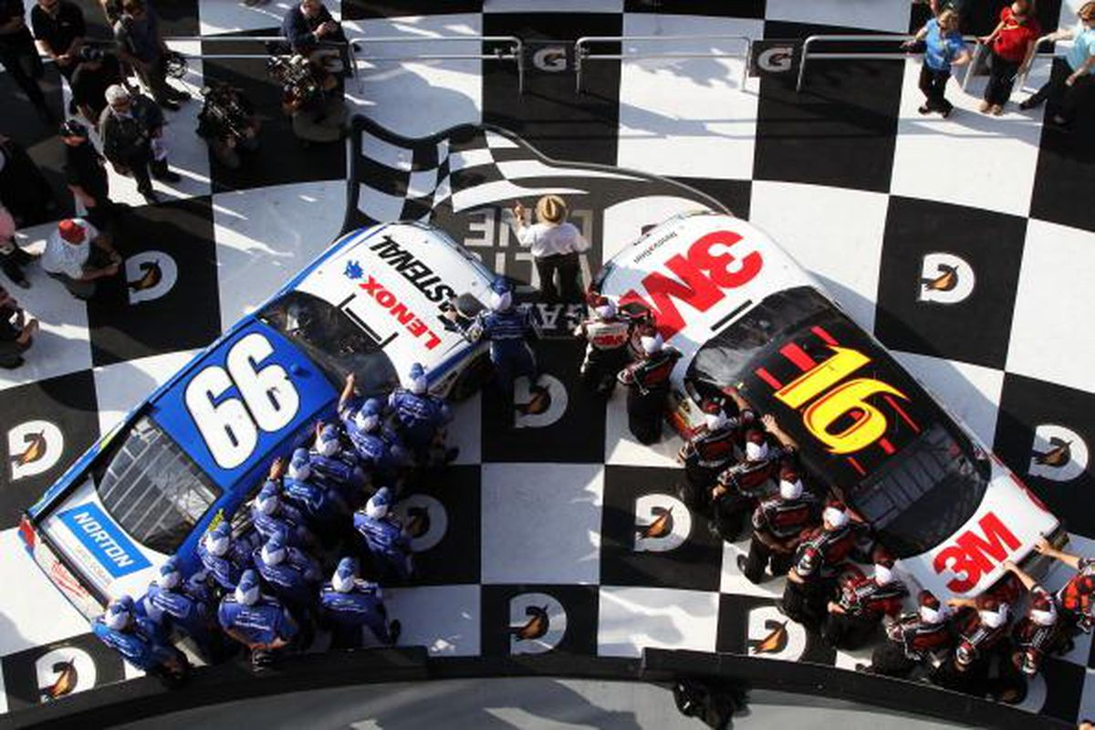 Carl Edwards No. 99 car and Greg Biffle's No. 16 will be on the front row for the 2012 Daytona 500 on Sunday.