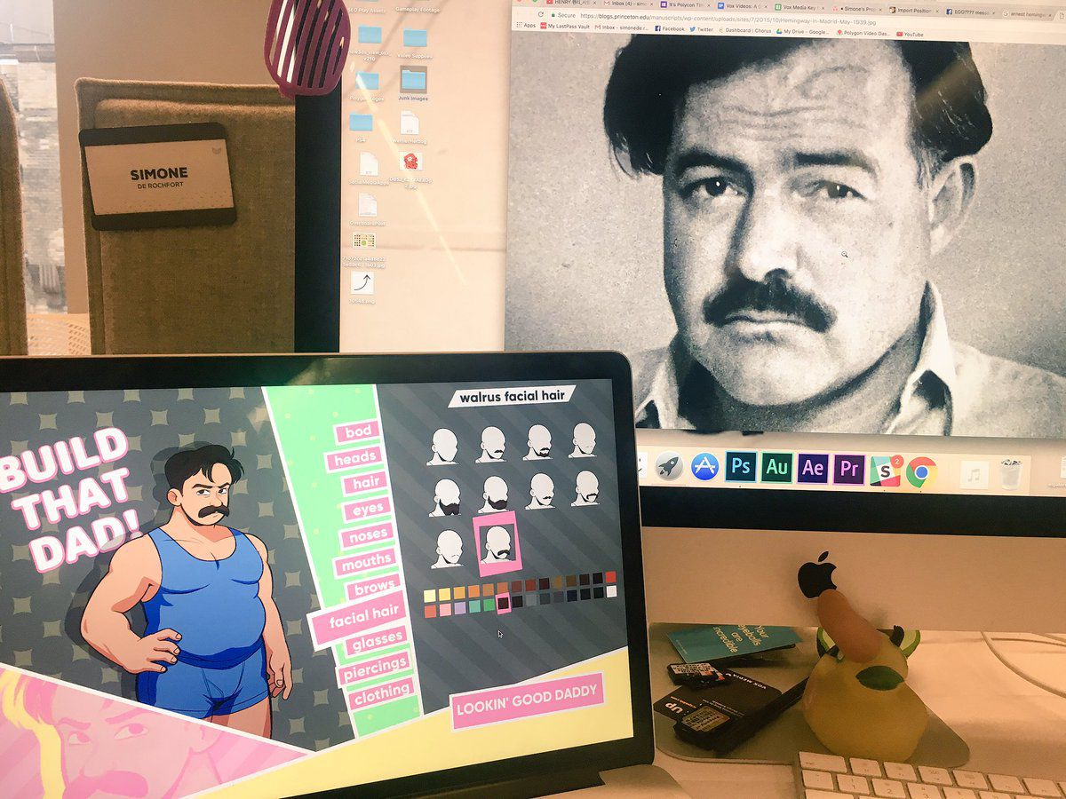 A photo of the Ernest Hemingway avatar in Dream Daddy, next to a computer with a large photo of middle-aged, real Ernest Hemingway.