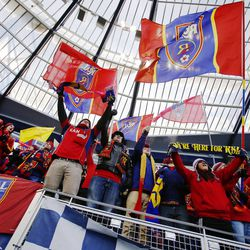 Real fans cheer during the introductions as Real Salt Lake and Sporting KC play Saturday, Dec. 7, 2013 in MLS Cup action.