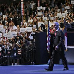 Former President Bill Clinton walks out to address the Democratic National Convention, Wednesday, Sept. 5, 2012, in Charlotte, N.C. (AP Photo/Pablo Martinez Monsivais)