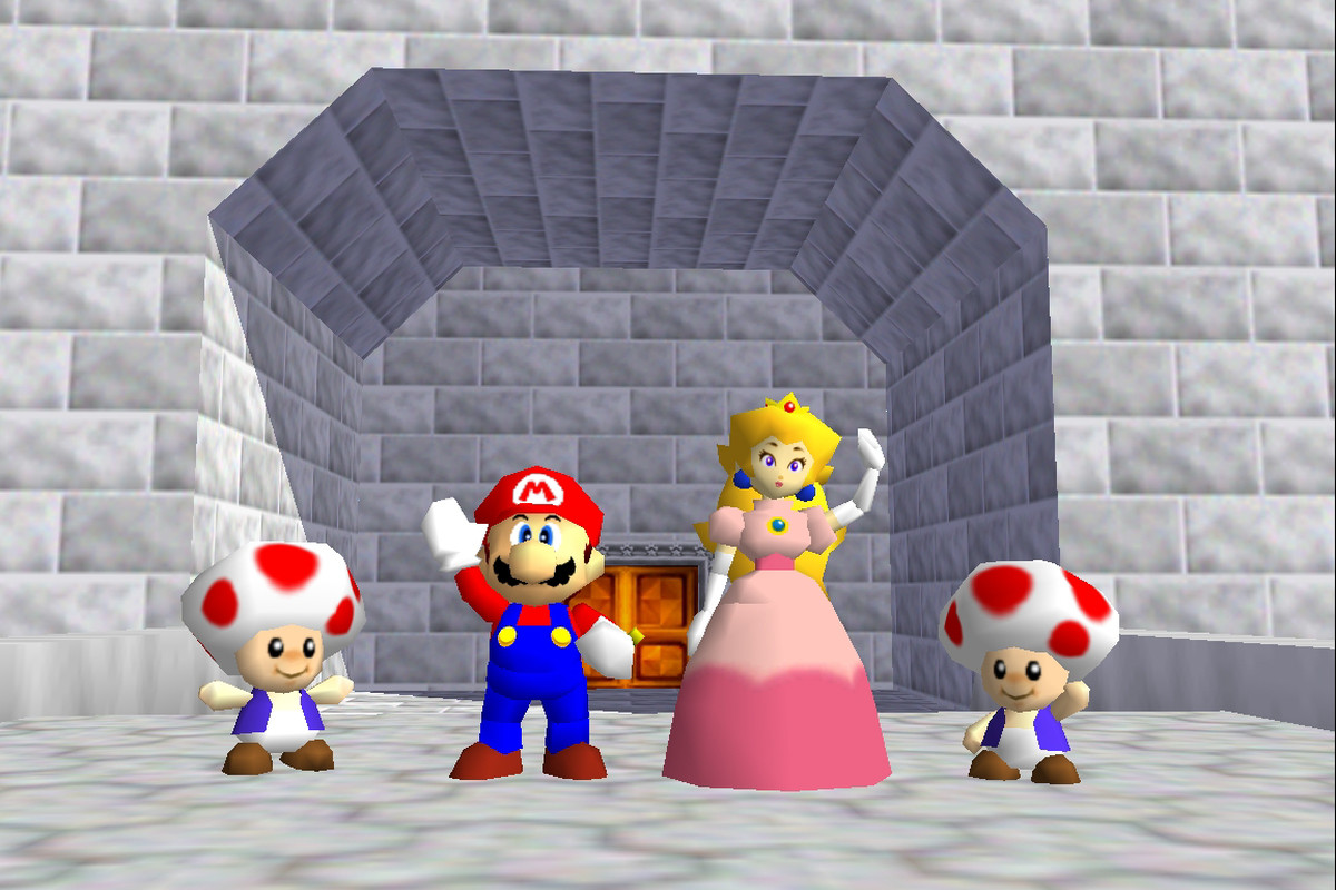 Super Mario 64 ending with two Toads, Mario and Peach