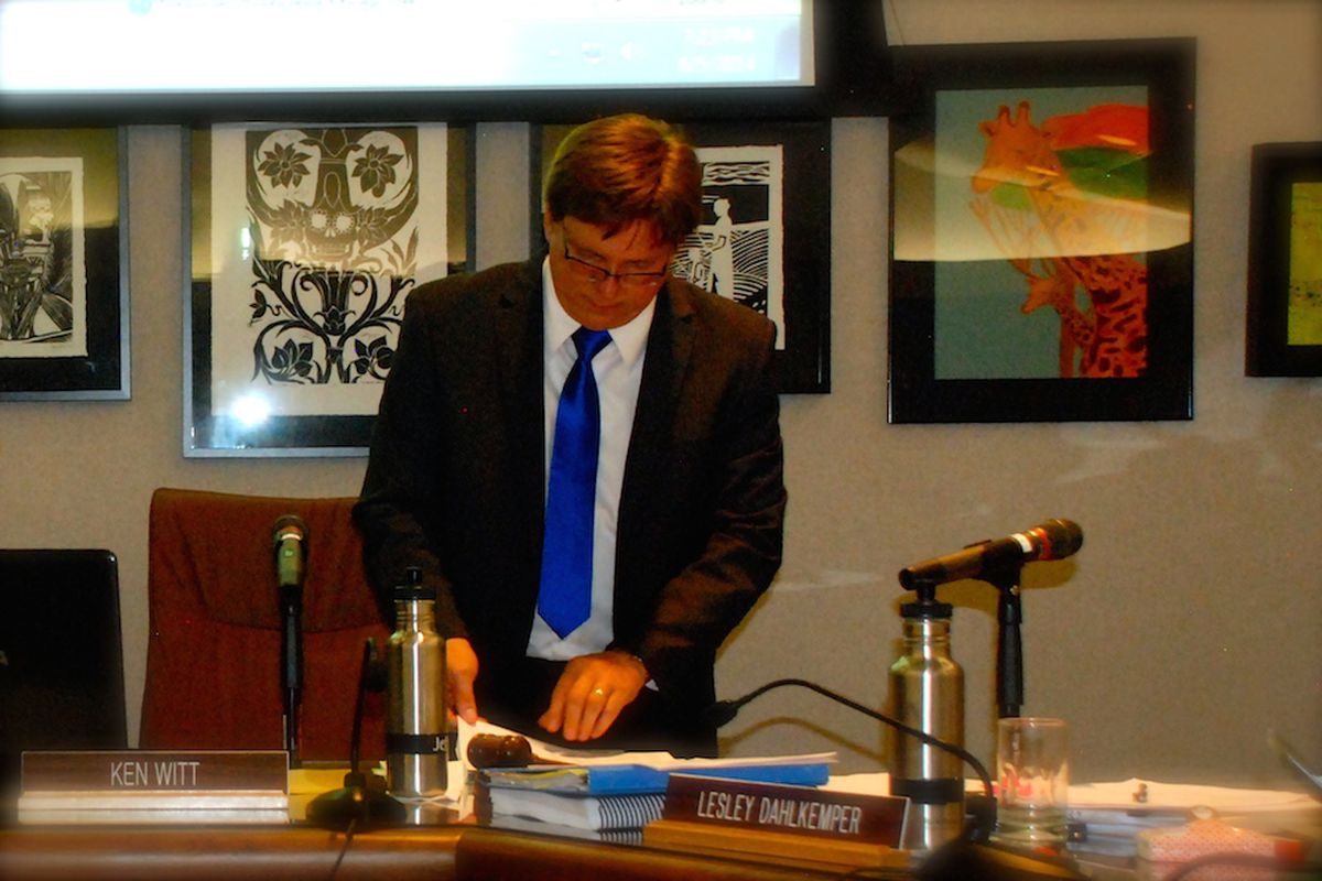 Jeffco board chairman Ken Witt prepares for the rest of the school board's June 5 meeting during a recess.