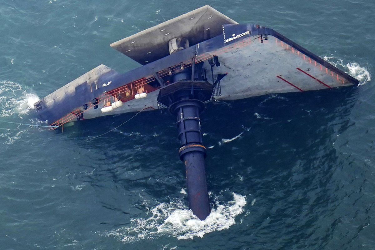The capsized lift boat Seacor Power is seen seven miles off the coast of Louisiana in the Gulf of Mexico Sunday, April 18, 2021. The vessel capsized during a storm on Tuesday.