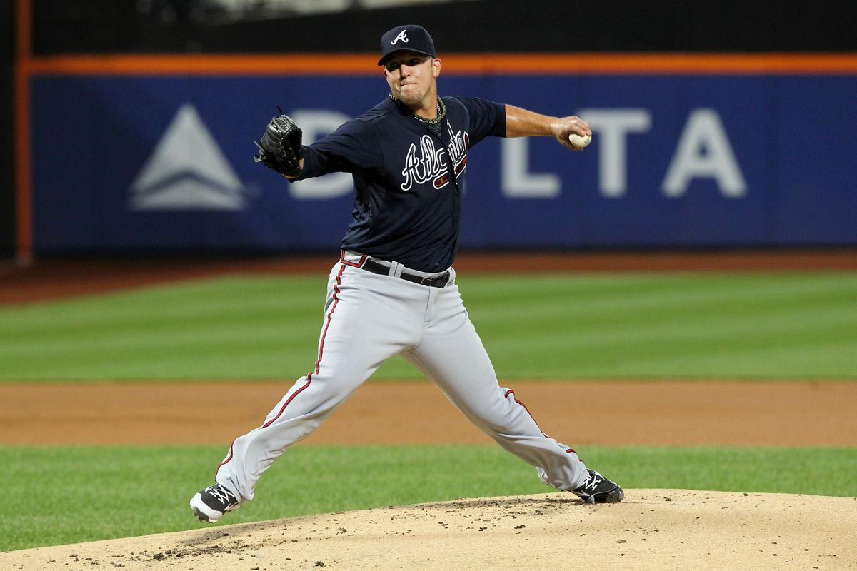 September 7, 2012; New York, NY, USA; Atlanta Braves pitcher Paul Maholm (17) throws a pitch during the first inning of a game against the New York Mets at Citi Field. Mandatory Credit: Brad Penner-US PRESSWIRE