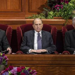 The First Presidency, President Henry B. Eyring, President Thomas S. Monson and President Dieter F. Uchtdorf, at the beginning of the afternoon session of the 185th Semiannual General Conference of The Church of Jesus Christ of Latter-day Saints at the Conference Center in Salt Lake City on Saturday, Oct. 3, 2015.