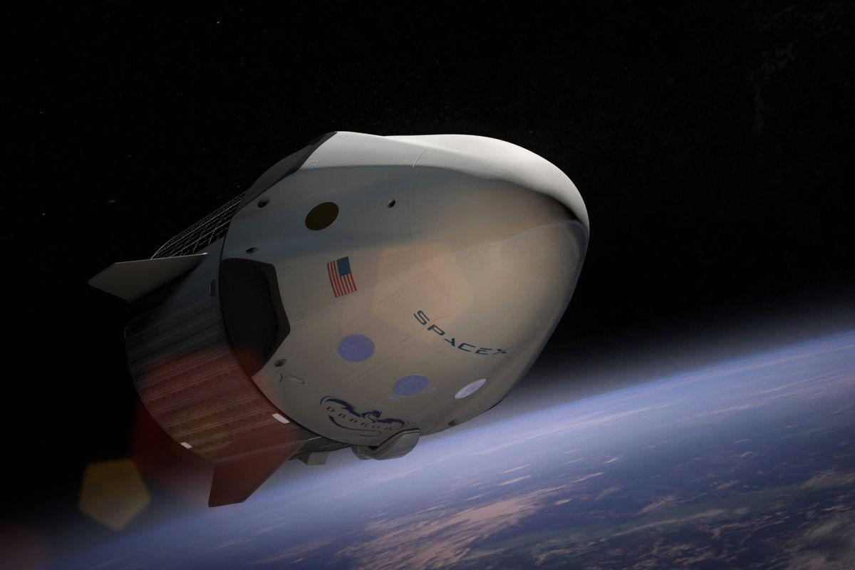 Artist's rendering of Crew Dragon in orbit by SpaceX