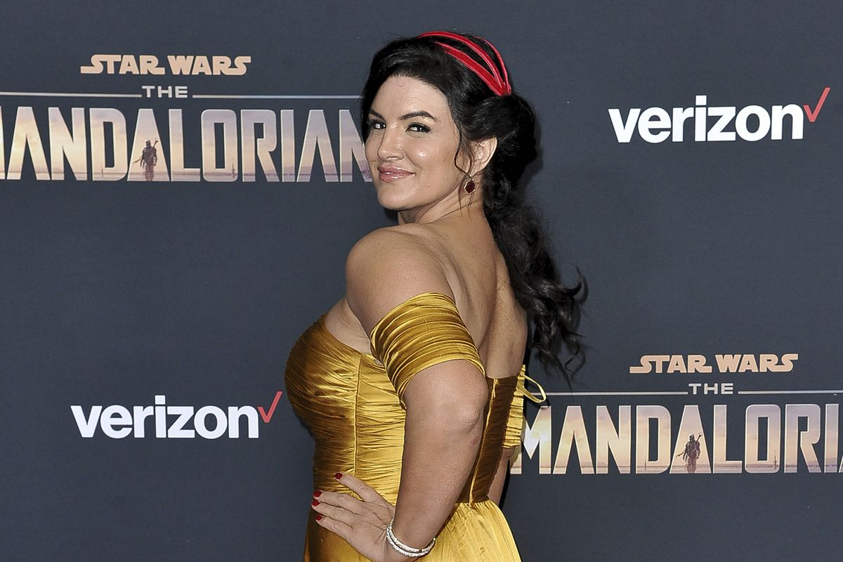 """In this Wednesday, Nov. 13, 2019, file photo, Gina Carano attends the LA premiere of """"The Mandalorian"""" at the El Capitan Theatre in Los Angeles. Disney CEO Bob Chapek responded to a question about Gina Carano."""