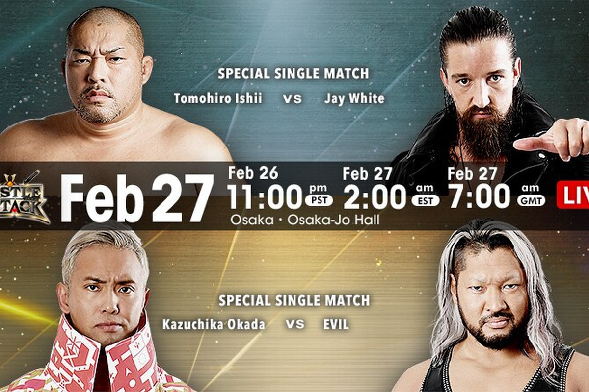 Match and time graphic for NJPW Castle Attack Night 1