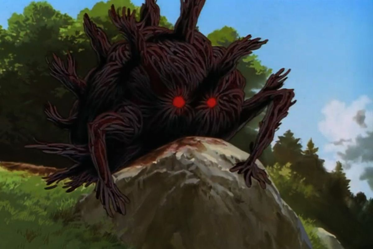 An infected/cursed boar monster, covered in wriggling black worms, in Princess Mononoke.