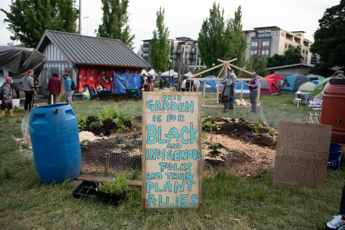 """A garden plot with a sign in front that says """"This Garden Is for Black and Indigenous Folks and Their Plant Allies"""""""