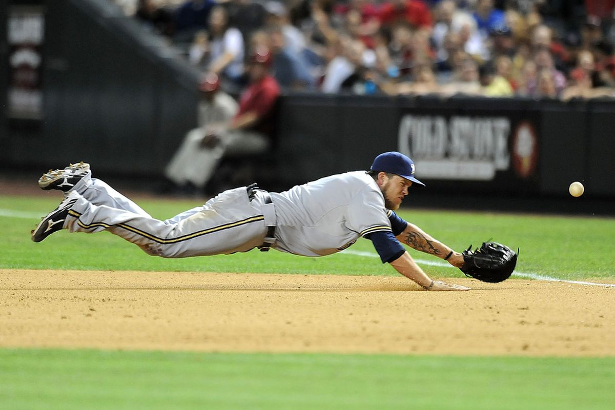 First baseman Corey Hart will not make this play probably ever.