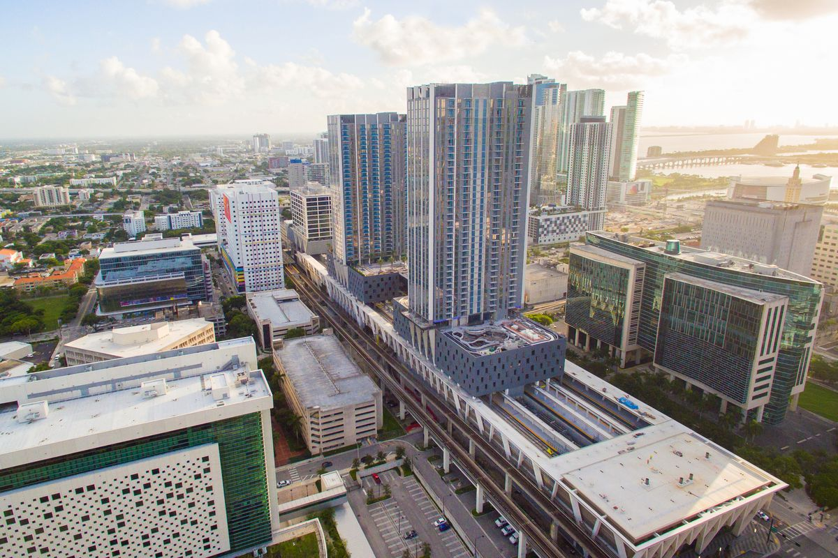 aerial view of buildings in Downtown Miami