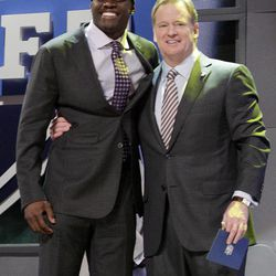 Georgia Tech wide reciever Stephen HIll, left, poses for photographs with NFL Commissioner Roger Goodell after being selected 43rd overall by the New York Jets in the second round of the NFL football draft by the at Radio City Music Hall Friday, April 27, 2012  in New York.