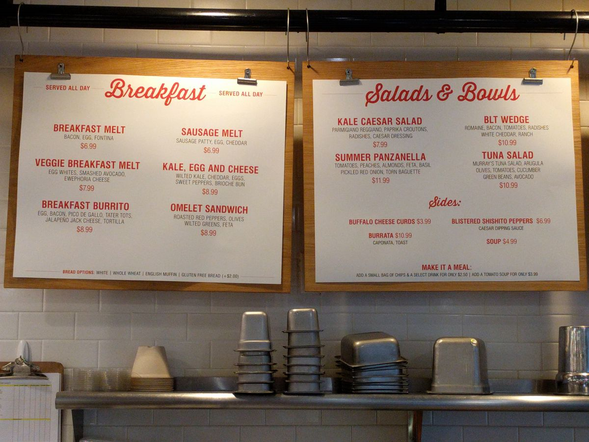 Breakfast sandwich choices at Murray's
