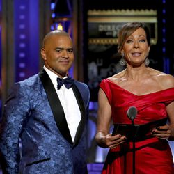 Christopher Jackson, left, and Allison Janney present the award for best direction of a play at the 71st annual Tony Awards on Sunday, June 11, 2017, in New York.